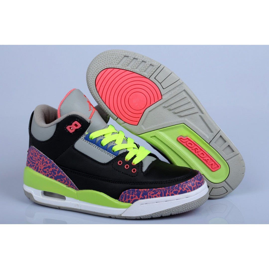 Women Air Jordan 3 Retro GS Purple Volt Pink